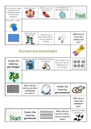 English Worksheet: Clothes and accessories - BOARD GAME