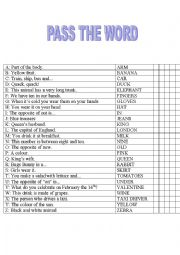 English Worksheet: Pass the word