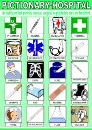 English Worksheet: Hospital Pictionary