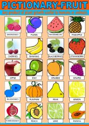 English Worksheet: Fruit Pictionary
