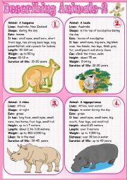 English Worksheet: Describing Animals 2