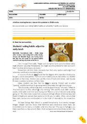 English Worksheet: Teste 9ºano