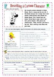 English Worksheet: Describing A Cartoon Character (Easy)