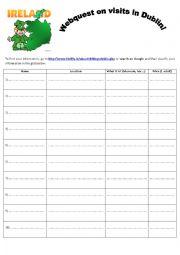 English Worksheet: webquest on visiting Dublin