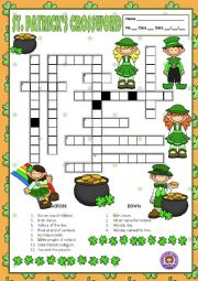English Worksheet: ST. PATRICK�S - CROSSWORD