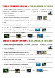 English Worksheet: Video/listening Comprehension - Endangered Species (key + link + script)
