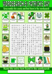 English Worksheet: Saint Patrick´s Day Wordsearch