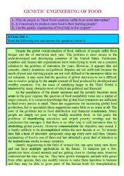 GENETIC ENGINEERING ON FOOD - READING COMPREHSNSON, SPEAKING & WRITINGq!