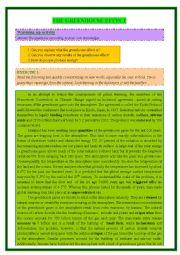 English Worksheet: GREENHOUSE EFFECT - reading comprehension + writing and speaking