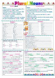 English Worksheet: The plural form ; regular and irregular