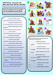 English Worksheet: HOW MUCH, HOW MANY, HOW FAR, HOW LONG