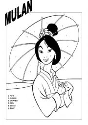 Worksheets Mulan Worksheet english worksheets mulan colouring page worksheet page