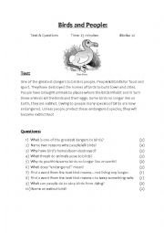 English Worksheet: Birds & People