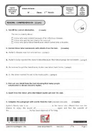 english test second term first form tunisian schools