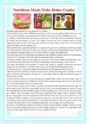 English Worksheet: Nutritious Meals Make Better Grades