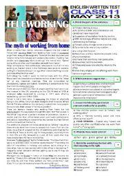 English Worksheet: TELEWORKING -