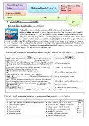 English Worksheet: Pioneer Mid term test3 9th form Tunisian Schools