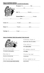 English Worksheet: muzzy in gondoland (episode 1)