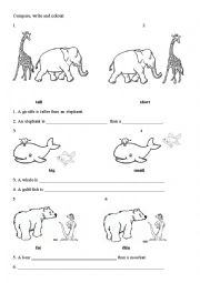 English Worksheet: Comparing the animals - usage of comparatives