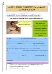 English Worksheet: Mr Bean - daily activities