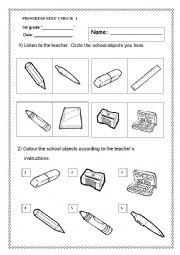 English Worksheet: Progress Self check Test for 1st Grade