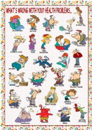 English Worksheet: What´s Wrong with You? (Health Problems) Picture Dictionary#1