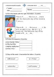 English Worksheet: 3rd grade test with Incredible English 2! Unit 1