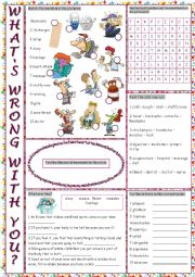English Worksheet: What�s Wrong with You? (Health Problems & Treatments) Vocabulary Exercises