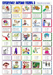 English Worksheet: EVERYDAY  ACTION VERBS/MULTIPLE CHOICE ACTIVITY 2