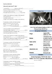 English Worksheet: Numb by Linkin Park song lyrics (Gerunds and Infinitives)