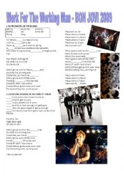 English Worksheet: BON JOVI - WORK FOR THE WORKING MAN