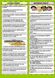 English Worksheet: Review 3: linking words & reported speech (+ key)