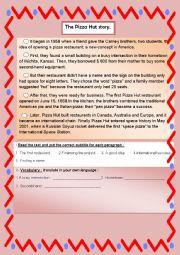 English Worksheet: THE PIZZA HUT STORY