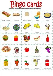 English Worksheet: Bingo food part 1