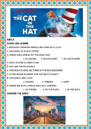 English Worksheet: The Cat in the Hat-MOVIE (Part B)