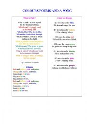English Worksheet: COLOURS POEMS AND A SONG 1