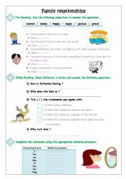 English Worksheet: family relationships ( reading comprehension )