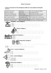 math worksheet : english worksheets multiple intelligences worksheets page 4 : Multiple Intelligences Worksheet