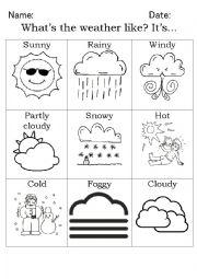 english worksheets the weather worksheets page 27. Black Bedroom Furniture Sets. Home Design Ideas
