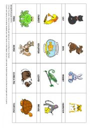 Animal ´Pets´ flashcards 5 & Game