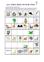 English Worksheet: At the Zoo with Sue - Zoo animals game