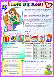 English Worksheet: I LOVE MY MOM! (Reading comprehension activities + word search + poem)