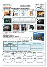 English Worksheet: Let´s Watch a Film Worksheet