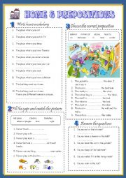 English Worksheet: HOME & PREPOSITIONS 1/3 (key included)