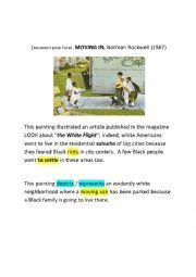 English Worksheet: Moving in, Norman Rockwell, Segregation