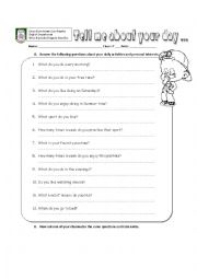 English Worksheet: Tell me about your day