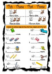 English Worksheet: THIS-THESE-THAT-THOSE