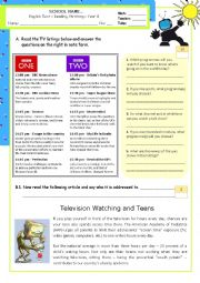 English Worksheet: Television watching and teens - Reading/Writing test