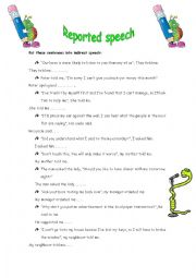 English Worksheet: Reported speech sentences (statements, questions and orders)