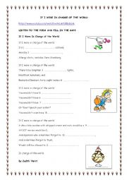 English Worksheet: POEM TIME: IF I WERE IN CHARGE OF THE WORLD